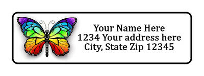 800 Colorful Butterfly Personalized Return Address Labels 1/2 inch by 1 3/4 inch