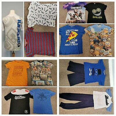 BOYS T-SHIRT  & PYJAMA BUNDLE NEXT BLUEZOO LOOT CRATE, SMILER, MATALAN age 12-13
