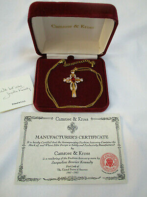 NEW Camrose & Kross Jacqueline Kennedy Cross Necklace Ruby Gold Adjustable