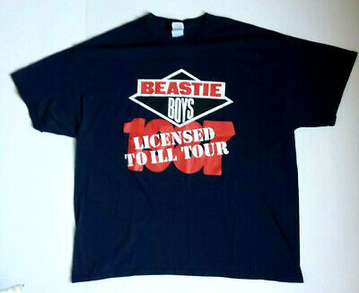 Mens 2XL Beastie Boys Licensed to Ill Tour 1987 T-Shirt VTG Reprint black EC
