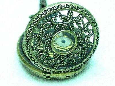 Men's skeleton mechanical wind-up pocket watch antique brass finish NEW