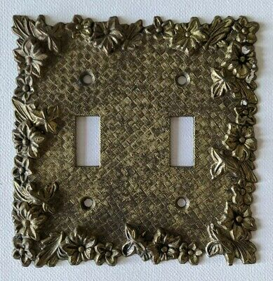 Vintage brass double switch plate cover
