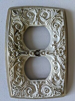 Vintage white/brass double outlet plug plate cover