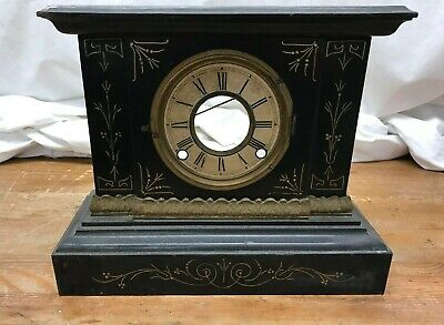 Antique ANSONIA Enameled Iron Metal Mantel Clock  Circa 1900 Black Parts Repair