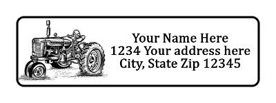 400 Old Tractor Personalized Return Address Labels 1/2 inch by 1 3/4 inch