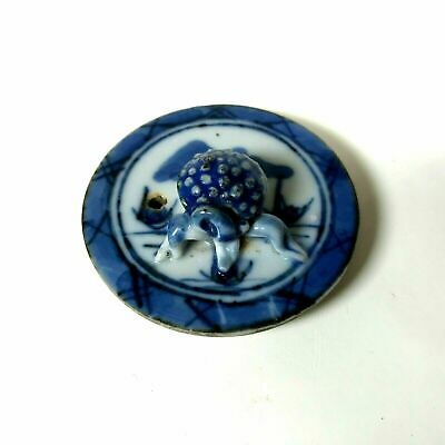 Small Antique Chinese Canton Porcelain Blue & White Lid Only