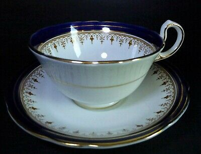 Aynsley Leighton Teacup & Saucer Cobalt Blue With Gold Scrolls
