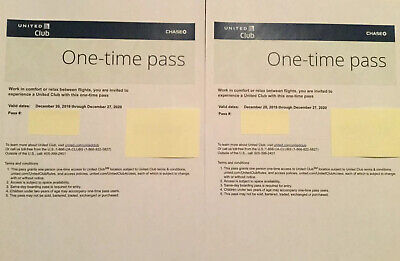 2 Two United Club Lounge One Time Passes Exp 12/27/20, Free Ship w Delivery Conf