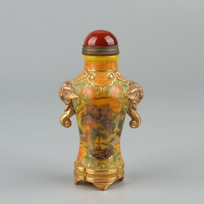 Chinese Exquisite Handmade landscape pattern Glass gilt snuff bottle