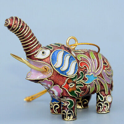 Collectable China Old Cloisonne Hand-Carve Lovely Elephant Delicate Luck Statue