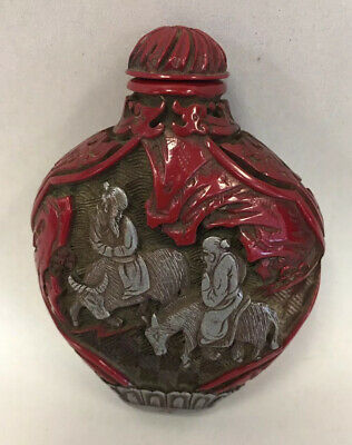 Antique Chinese Carved Cinnabar and Sterling Silver Snuff Bottle - Signed