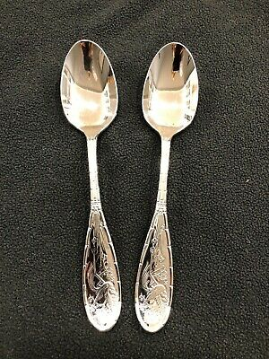 Two (2) Japanese Bird and Bamboo by Ricci - Stainless Teaspoons, New