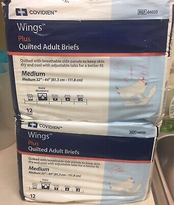 Adult Covidien Wings Plus Quilted Adult Briefs Medium Adult Diapers-12 Pack