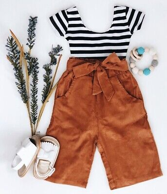 US Newborn Kids Baby Girls Striped Tops T-shirt + Pants Leggings Outfits Clothes