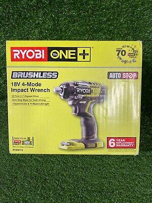 "Ryobi R18IW7-0 18V Impact Wrench BRUSHLESS 4 - Mode  1/2"" Skin Only ##217930"