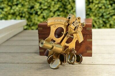 Beautiful Modern Brass Sextant In Wooden Box