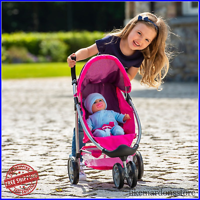 Girls Doll Toy Buggy Stroller Jogger Pushchair Pram Interactive Learning Play