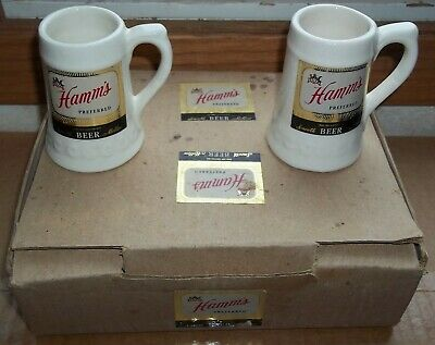 Lot of six nos hamms beer small steins