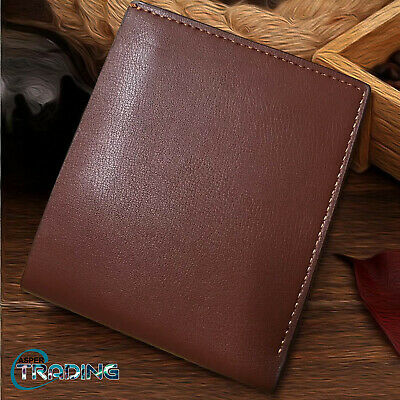 Brand New Trifold Brown Coin Credit Id Card Pocket Genuine Leather Luxury Wallet