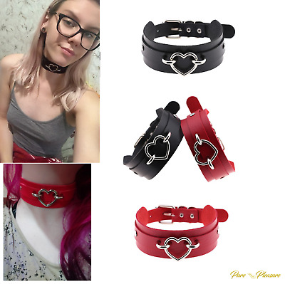 Valentine Vegan Faux Leather Bondage Choker Collar with Heart in 2 Colours