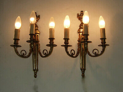 Pair Large French antique gilt bronze Louis XVI 3 branch Empire wall sconces, li