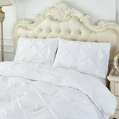 White Pintuck Duvet Cover Set 100% Egyptian Cotton Bedding Bed Sets Double King