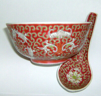 Chinese  bowl and spoon  MUN SHOU pattern 115mm in diameter