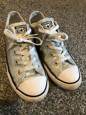 Silver Glitter Converse All Star Size 3 Girls/ladies Shoes Trainers Pumps