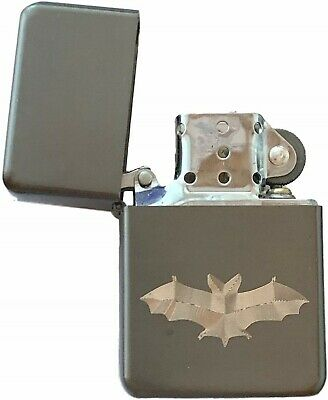 Emblems-Gifts Personalised Bat Metal Grey Colour Star Petrol Lighter (T18)