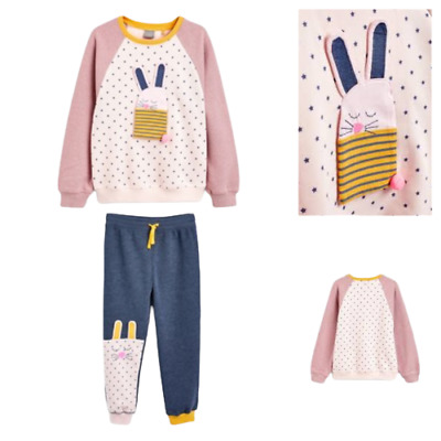 NEXT Girls Outfit Bunny Joggers & Top Jumper Set  Age 9-12 12-18 1.5-2 3-4 BNWT