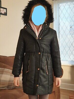 Girls Ted Baker Black Hooded Coat With Faux Fur Trim Age 9 Years