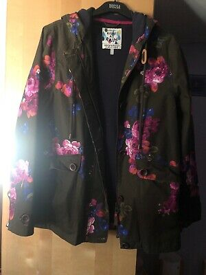 Joules Ladies Coast Floral Print Coat Size 14 - very good condition