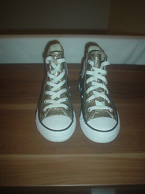 Girls Converse Boots, Gold, synthetic, shiny,  laces, size UK 12 Kids  EU 30
