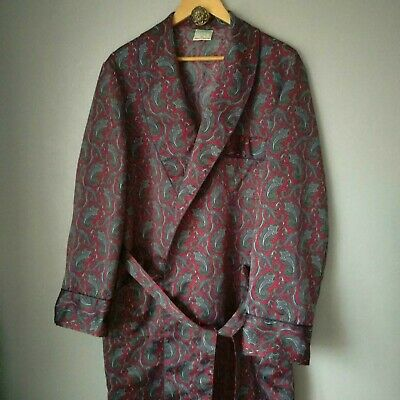 "Vintage CANDA Smoking Jacket / Dressing Gown size 42"" Chest Large - Paisley Red"