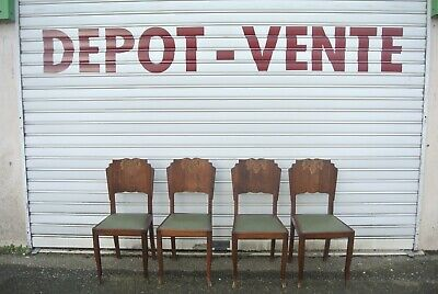 Set of 4 French Art Deco Oak & Green Leatherette Dining Chairs UK Delivery