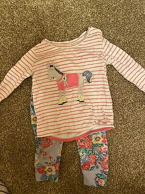 Joules Girls Jersey Cotton Horse And flower PJ Set. Leggings 6-9 Months