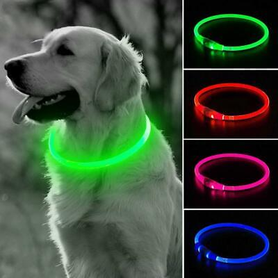 USB LED Rechargeable Pet Dog Collar Flashing Light Up Safety Belt Waterproof Red