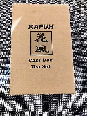 NEW KAFUH JAPANESE BROWN CAST IRON TEA KETTLE w/STAINLESS CUPS NEW WITH TAG/BOX