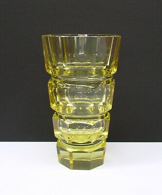Beautiful Art Deco Moser Yellow Cut faceted glass vase