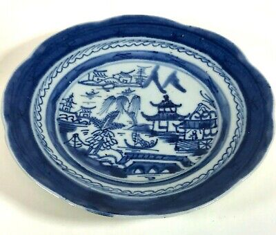 Antique 19th Century Chinese Canton Blue & White Porcelain Plate