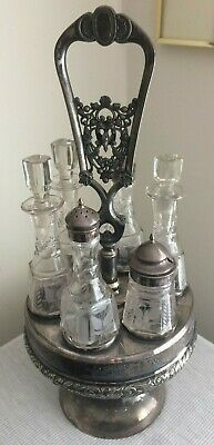 Antique Victorian Wilcox Silver Plate Castor Set With Six Etched Bottles