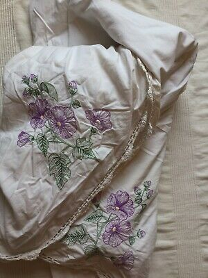 Double Bed Valance cream with purple Embroidery