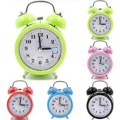 Super Loud Retro Double Bell Round Alarm Clock Night Light Bedside Room Decorate