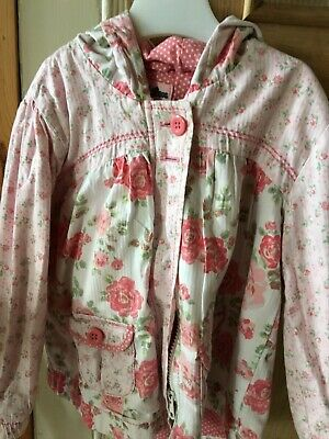 Next Girls Pink Floral  Hooded Coat Age 2-3