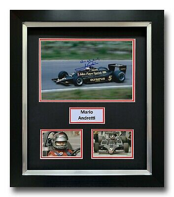 Mario Andretti Hand Signed Framed Photo Display - Lotus Formula 1 Autograph 1.
