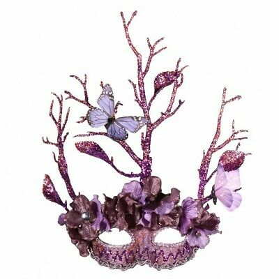 Masquerade Eye Mask - Purple with Butterflies