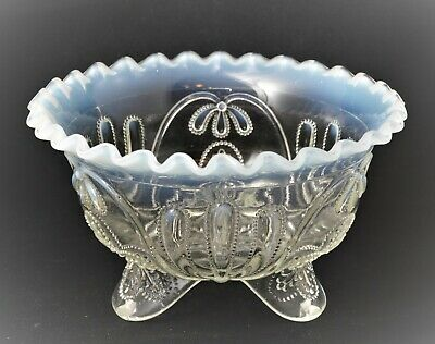 Eapg Northwood Opalescent White Glass Footed Bowl Meander