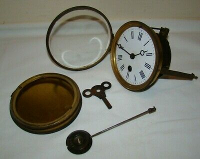 Antique Mantel Clock Parts - Movement, Dial, Backplate, Pendulum & Key - Working