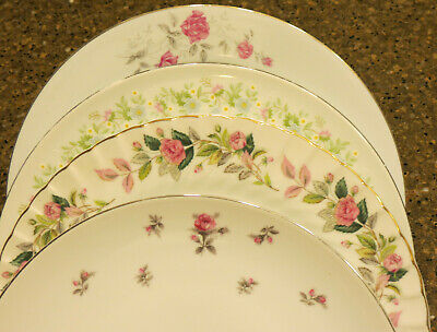 """Four Mismatched Fine China Dinner Plates 10-10 ½"""" Lot 8"""