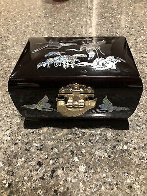 Antique Black Lacquer Wood Box w/ mother-of-pearl inlay & brass fish lock